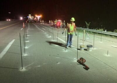 Deep foam injection on a highway at night